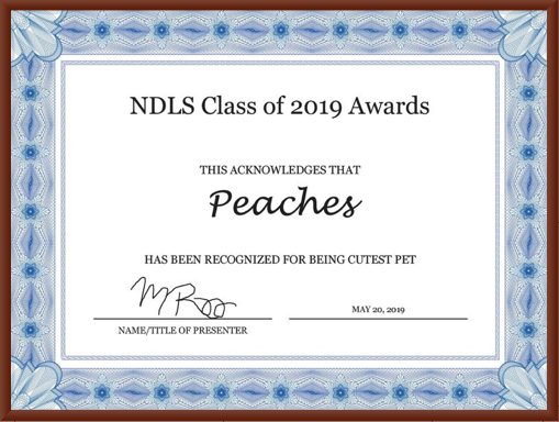 Peaches Wins Cutest Pet at Notre Dame